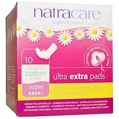 Natracare, 유기농 & 내츄럴 울트라 엑스트라 패드, 슈퍼 사이즈, 10 개입