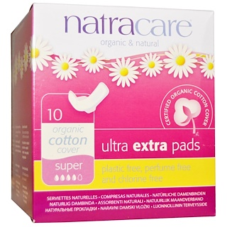 Natracare, Serviettes bio et naturelles ultra extra, Super, 10 serviettes