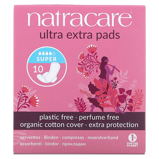 Natracare, 有機天然超級加長衛生巾,超大量,10 片