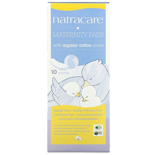 Maternity Pads with Organic Cotton Cover, 10 Pads