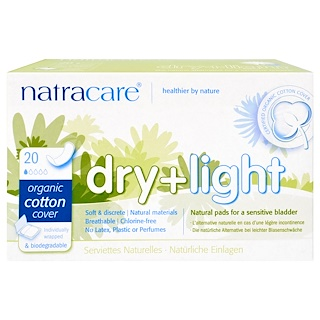 Natracare, Dry + Light, Organic Cotton Cover, 20 Individually Wrapped Pads