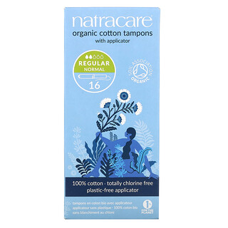 Natracare, Organic Cotton Tampons With Applicator, Regular Normal, 16 Tampons
