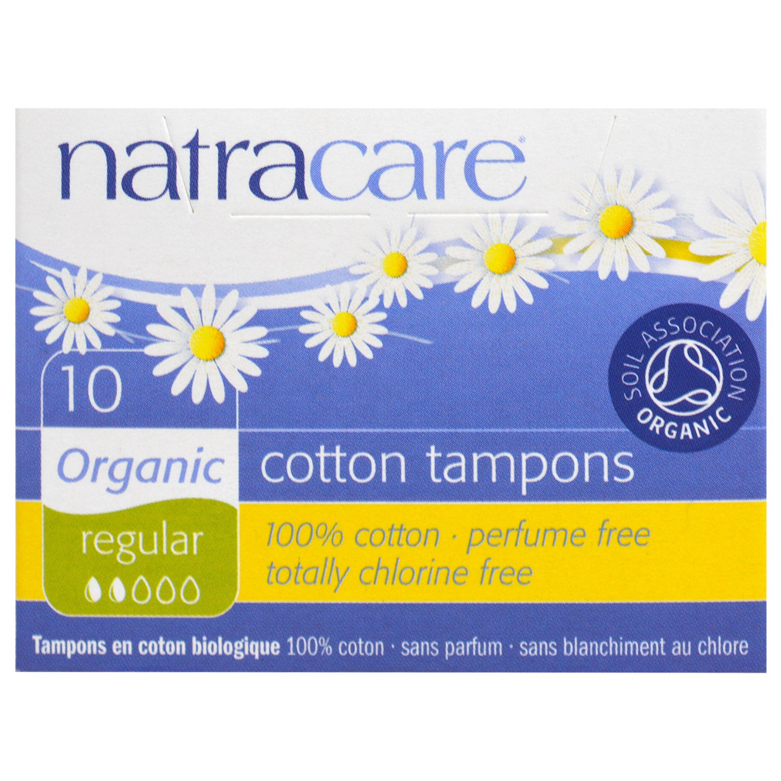 Natracare, Органические ватные тампоны, для умеренных выделений, 10 тампонов