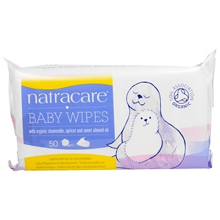 Natracare, Baby Wipes with Organic Chamomile, Apricot and Sweet Almond Oil, 50 Wipes