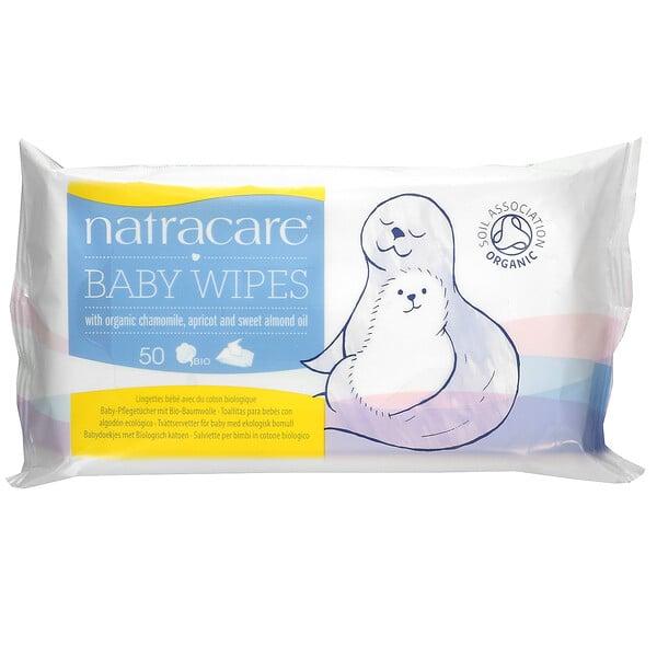 Natracare, Toallitas húmedas para bebé con manzanilla orgánica, damasco y aceite de almendras dulces, 50 toallitas