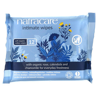 Natracare, Soft Organic Cotton Intimate Wipes, 12 Wipes