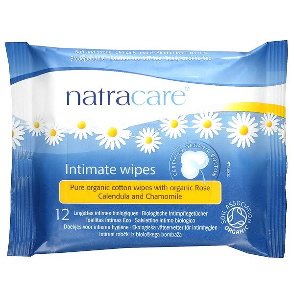 Natracare, Certified Organic Cotton Intimate Wipes, 12 Wipes