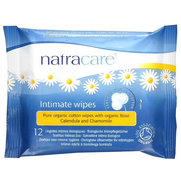 Certified Organic Cotton Intimate Wipes, 12 Wipes
