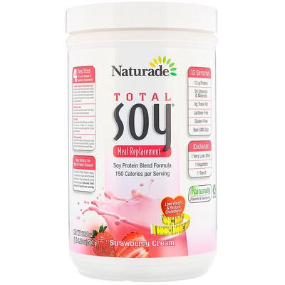 Naturade Total Soy, заменитель приема пищи, клубника со сливками, 507 г (17, 88 унции)  - купить со скидкой