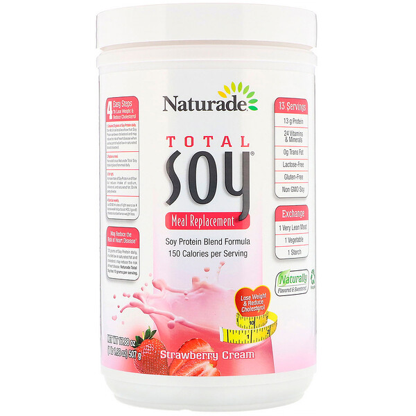 Naturade, Total Soy, Meal Replacement, Strawberry Cream, 1.1 lbs (507 g)