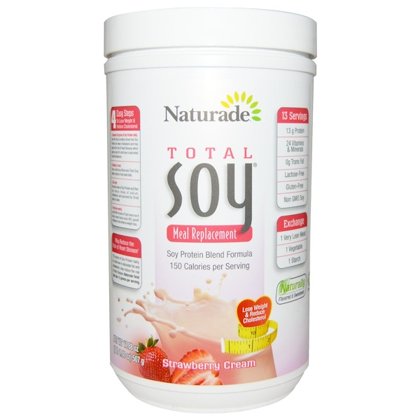 Naturade, 総大豆(Total Soy), 全て自然な食事のリプレイスメント(All Natural Meal Replacement), ストロベリークリーム, 17.88オンス(507 g)
