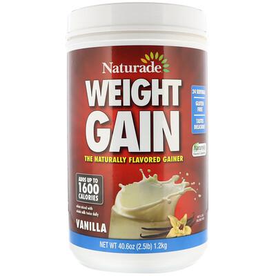 Naturade Средство для набора веса Weight Gain, со вкусом ванили, 40, 6 унций (2, 5 фунта)  - купить со скидкой