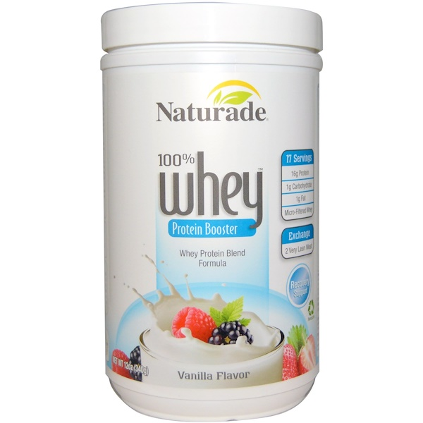 Naturade, 100% Whey, Protein Booster, Vanilla Flavor, 12 oz (340 g) (Discontinued Item)