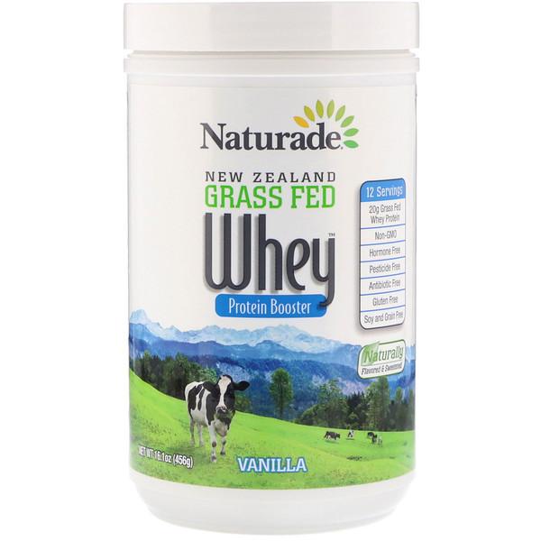 Naturade, 新西蘭草飼乳清蛋白補充劑,香草味,16、1盎司(456克)