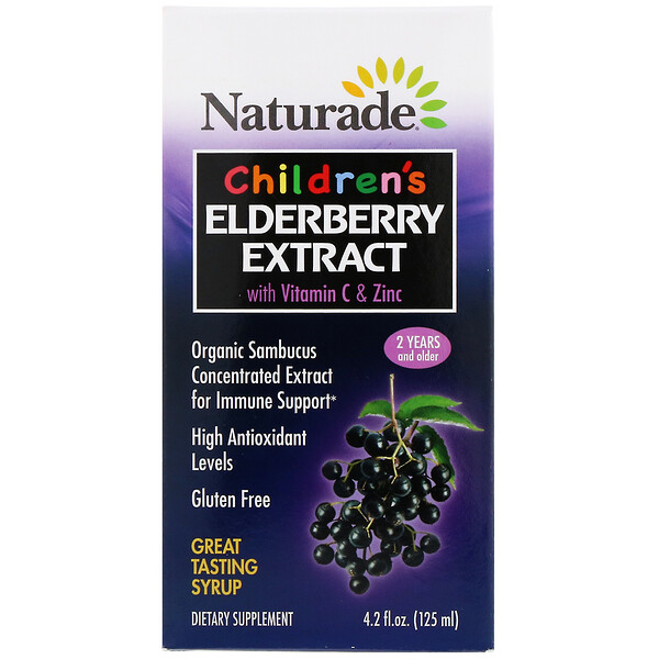 Naturade, Children's Elderberry Extract Syrup with Vitamin C & Zinc, 2 Years and Older, 4.2 fl oz (125 ml)