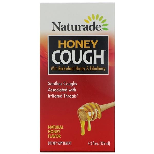 Naturade, 蜂蜜咳水,含蕎麥蜂蜜和接骨木果,天然蜂蜜味,4、2液量盎司(125毫升)