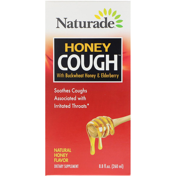 Naturade, 蜂蜜咳水,含蕎麥蜂蜜和接骨木果,天然蜂蜜味,8、8液量盎司(260毫升)