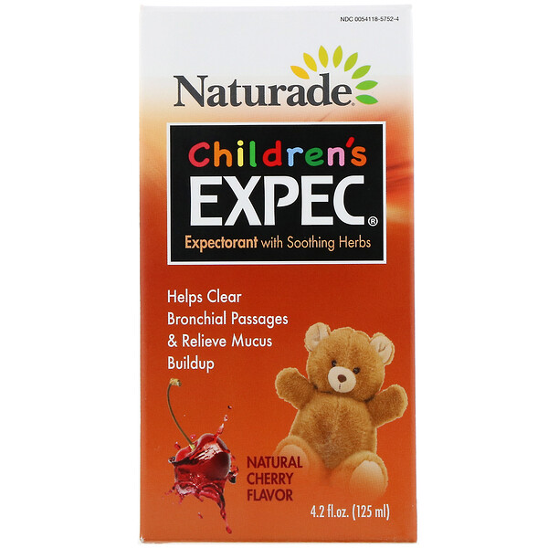 Naturade, Children's EXPEC, Expectorant with Soothing Herbs, Natural Cherry Flavor, 4.2 fl oz (125 ml)