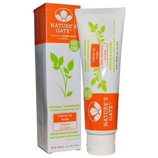 Nature's Gate, Natural Toothpaste, Flouride and Carrageenan Free, Crème de Anise, 6 oz (170 g)