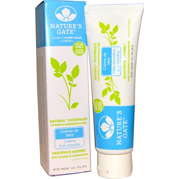 Nature's Gate, Natural Toothpaste, Flouride and Carrageenan Free, Creme de Mint, 6 oz (170 g) (Discontinued Item)