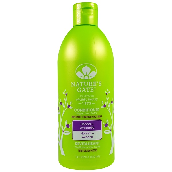 Nature's Gate, Conditioner, Shine Enhancing, Henna + Avocado, 18 fl oz (532 ml) (Discontinued Item)