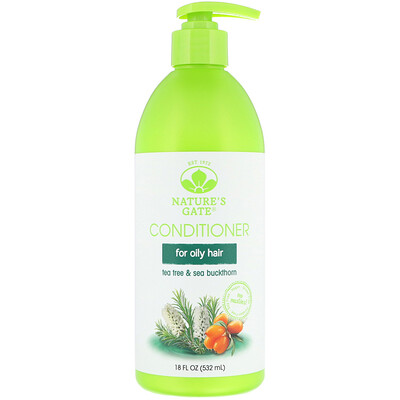 Nature's Gate Tea Tree + Sea Buckthorn Conditioner, For Oily Hair, 18 fl oz (532 ml)