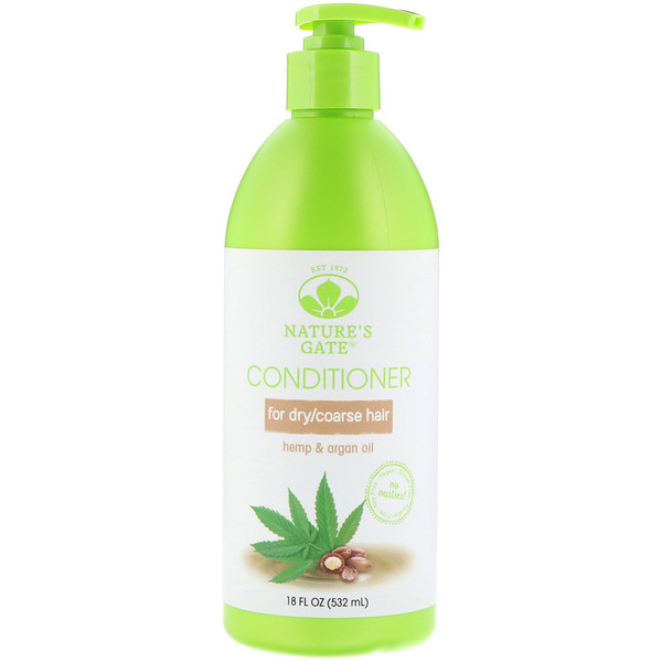 Nature's Gate, Conditioner, Hemp + Argan Oil, For Dry/Coarse Hair, 18 fl oz (532 ml)