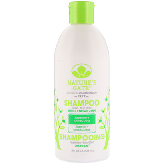 Nature's Gate, Shampoo, Shine Enhancing, Jasmine + Kombucha, 18 fl oz (532 ml)