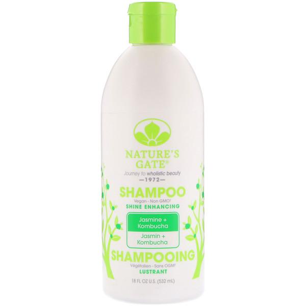 Nature's Gate, Shampoo, Shine Enhancing, Jasmine + Kombucha, 18 fl oz (532 ml) (Discontinued Item)