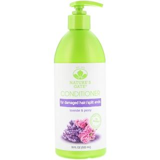 Nature's Gate, Conditioner, For Damaged Hair/Split Ends, Lavender & Peony, 18 fl oz (532 ml)