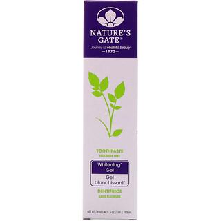 Nature's Gate, ホワイトニングゼリー歯磨き, フッ化物フリー, 5オンス(141 g)
