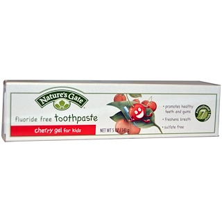 Nature's Gate, Fluoride Free Toothpaste, Cherry Gel for Kids, 5 oz (141 g)