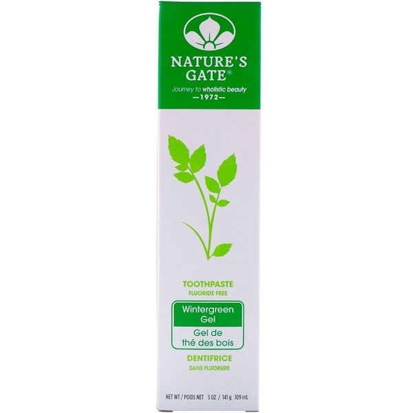 Nature's Gate, Toothpaste, Fluoride Free, Wintergreen Gel, 5 oz (141 g) (Discontinued Item)
