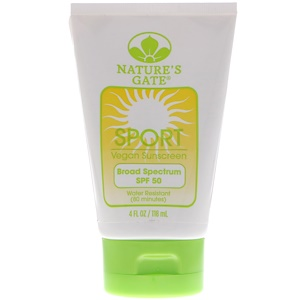 Натурес гате, Sport, Vegan Sunscreen, SPF 50, 4 fl oz (118 ml) отзывы покупателей
