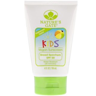Nature's Gate, Kids, Broad Spectrum SPF 50 Sunscreen, Fragrance-Free, 4 fl oz (118 ml)