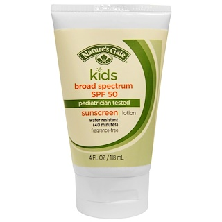 Nature's Gate, Kids, Broad Spectrum SPF 50 Sunscreen, Lotion, Fragrance-Free, 4 fl oz (118 ml)