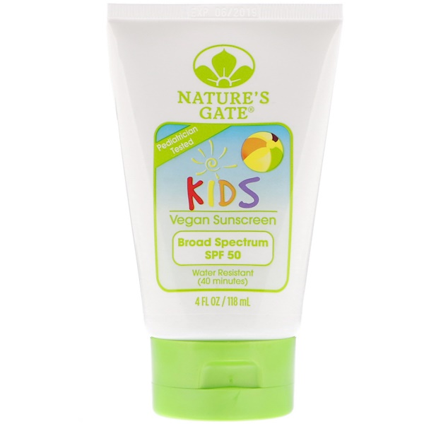 Nature's Gate, Kids, Broad Spectrum SPF 50 Sunscreen, Fragrance-Free, 4 fl oz (118 ml) (Discontinued Item)