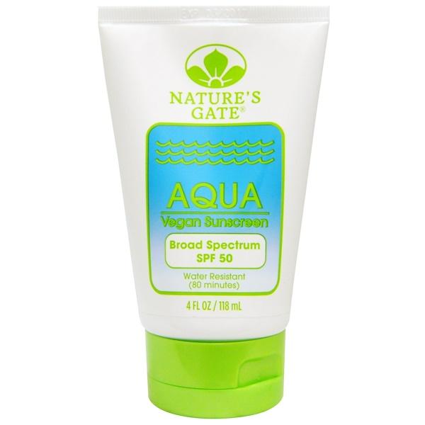Nature's Gate, Aqua, Vegan Sunscreen, SPF 50, 4 fl oz (118 ml)