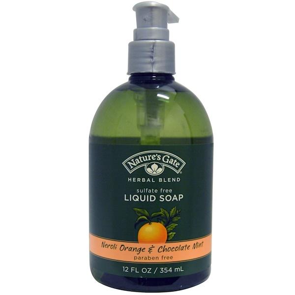 Nature's Gate, Herbal Blend, Liquid Soap, Neroli Orange & Chocolate Mint, 12 fl oz (354 ml) (Discontinued Item)