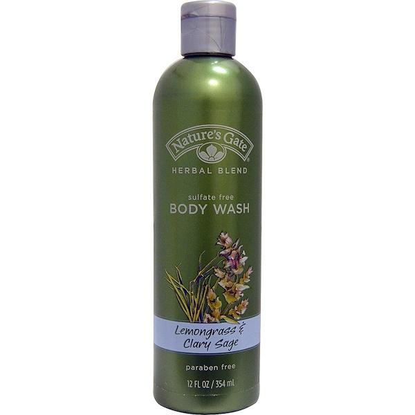 Nature's Gate, Herbal Blend, Body Wash, Lemongrass & Clary Sage, 12 fl oz (354 ml) (Discontinued Item)