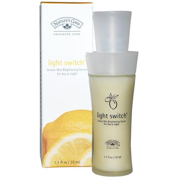Nature's Gate, Light Switch, дневная и ночная осветляющая лимонная сыворотка для кожи, 1,1 жидкая унция (32 мл) (Discontinued Item)