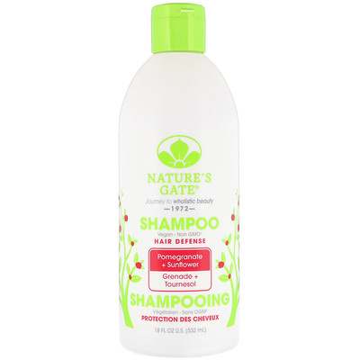 Nature's Gate Shampoo, Hair Defense, Pomegranate + Sunflower, 18 fl oz (532 ml)