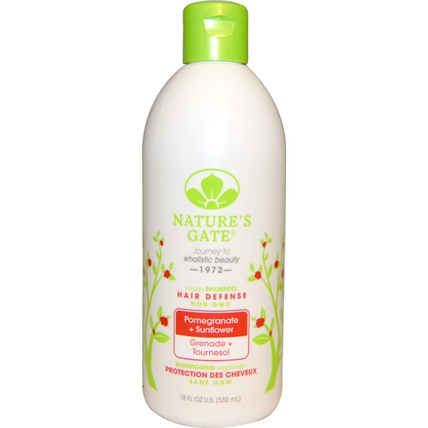 Nature's Gate, 髪を守るシャンプー(Hair Defense Shampoo), ザクロ+ヒマワリ, 18液量オンス(532 ml)