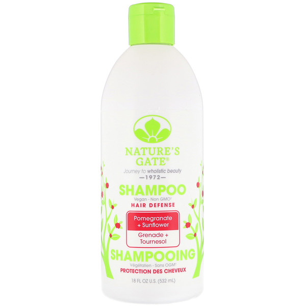 Nature's Gate, Shampoo, Hair Defense, Pomegranate + Sunflower, 18 fl oz (532 ml) (Discontinued Item)