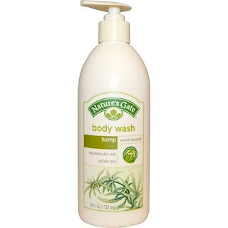Nature's Gate, Body Wash, Velvet Moisture, Hemp, 18 fl oz (532 ml)