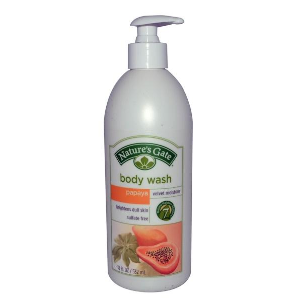 Nature's Gate, Body Wash, Velvet Moisture, Papaya, 18 fl oz (532 ml) (Discontinued Item)