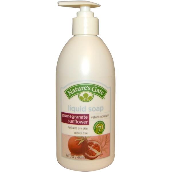 Nature's Gate, Pomegranate Sunflower Velvet Moisture Liquid Soap, 16 fl oz (473 ml) (Discontinued Item)