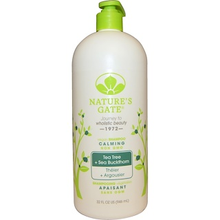Nature's Gate, Shampoo, Calming, Vegan, Tea Tree + Sea Buckthorn, 32 fl oz (946 ml)