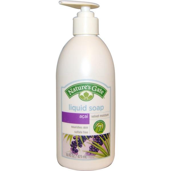 Nature's Gate, Liquid Soap, Velvet Moisture, Acai, 16 fl oz (473 ml) (Discontinued Item)