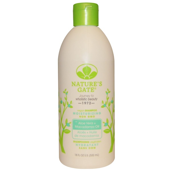 Nature's Gate, Shampoo, Moisturizing, Vegan, Aloe Vera + Macadamia Oil, 18 fl oz (532 ml) (Discontinued Item)